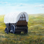 painting with covered wagon