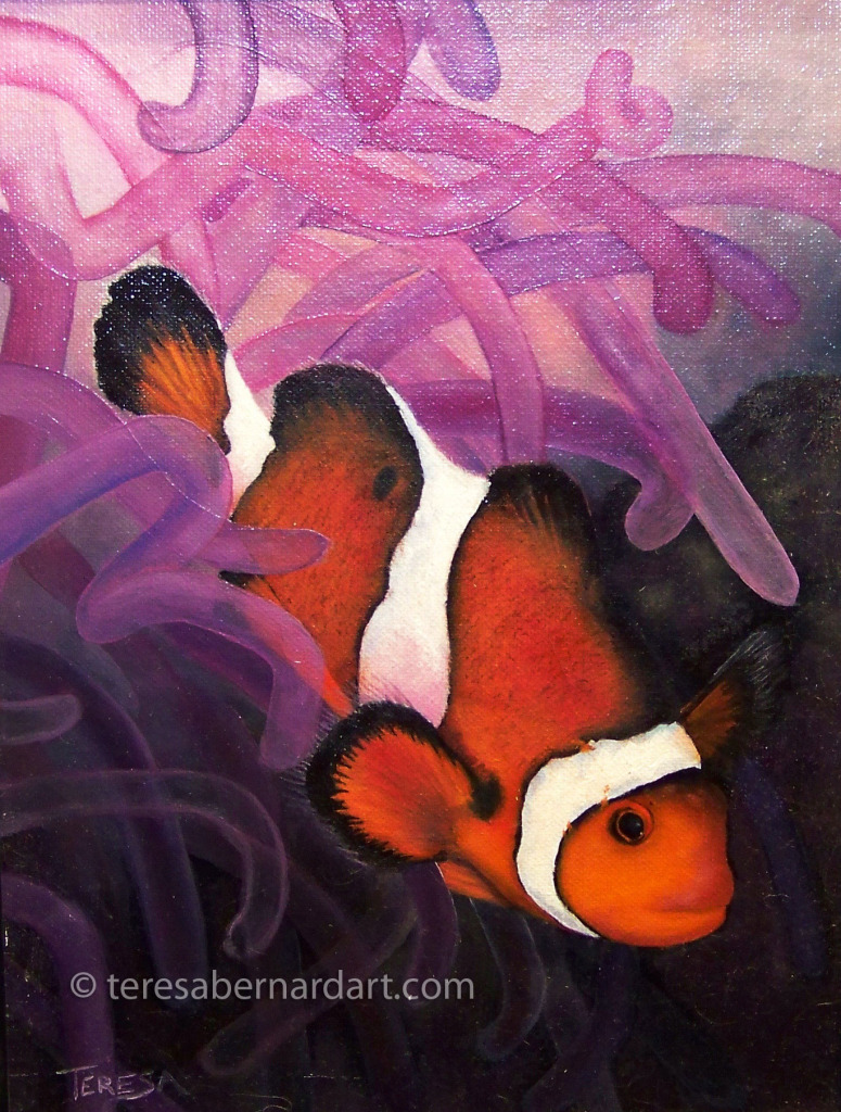 clown fish oil painting