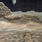 First Footprint on the Moon space art