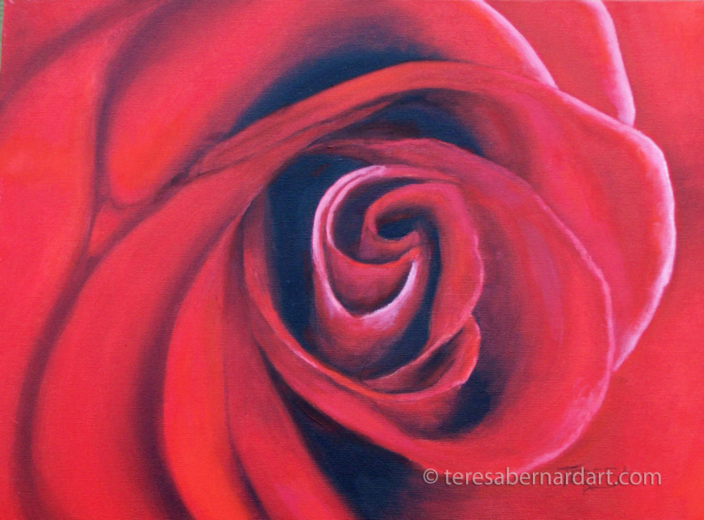 Tyler red rose close up painting