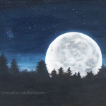 Moonset oil painting