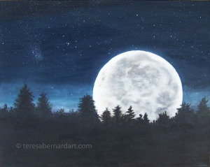 moon night time landscape painting