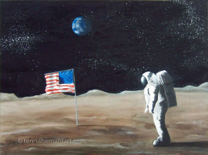 Neil Armstrong astronaut painting