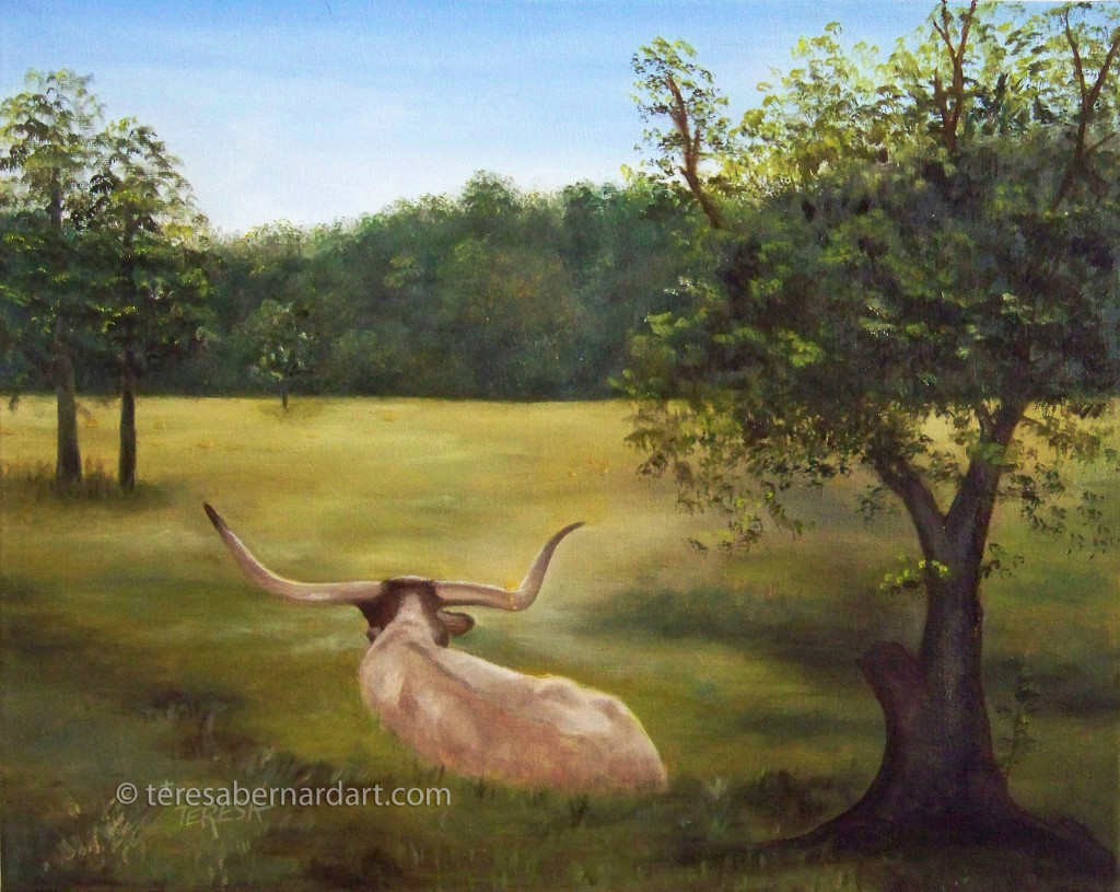 Texas longhorn cow painting