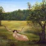 longhorn cow oil painting