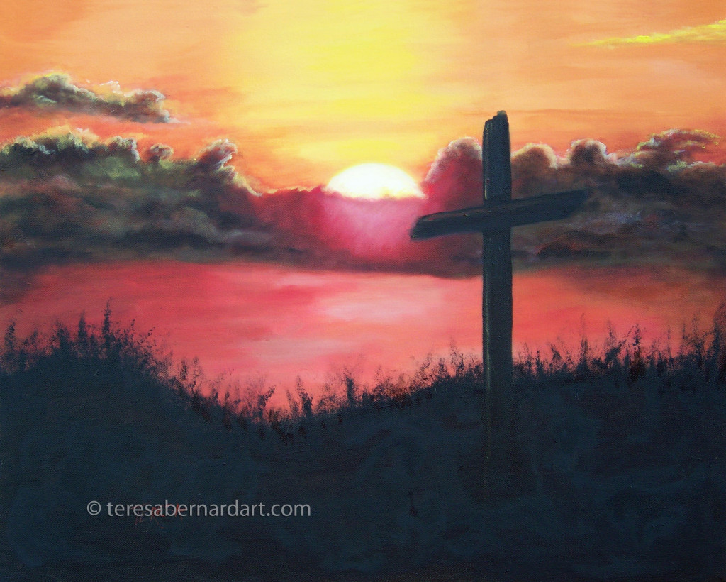 Christian art painting in oils on stretched canvas