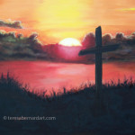 Calvary at Sunset oil painting