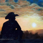 Cowboy Sunset oil painting
