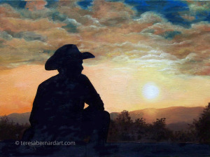 cowboy western sunset oil painting