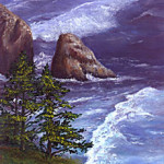 Oregon Coast South Of The Sea Lion Caves oil painting