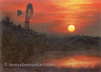 Austin TX sunset western painting