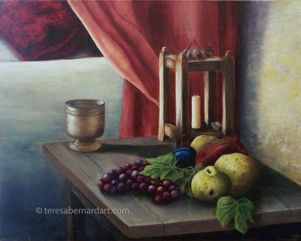 fruit and candle painting