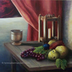 Still Life with Fruit and Candle painting