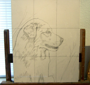 sketch image on the canvas using a grid