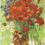 still life with red poppies and daisies