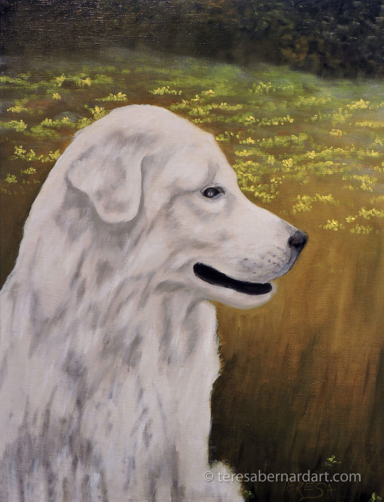white dog painting