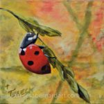 Ladybug #1 - Hanging On Tight oil painting