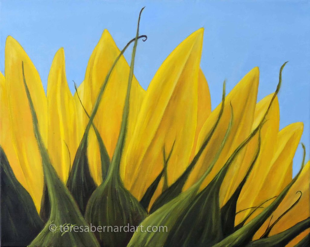 Sunflower from behind oil painting