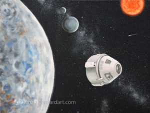 outer space travel oil painting
