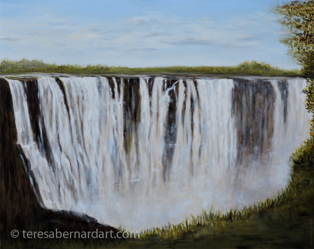 Victoria Falls, waterfalls Africa commission oil painting