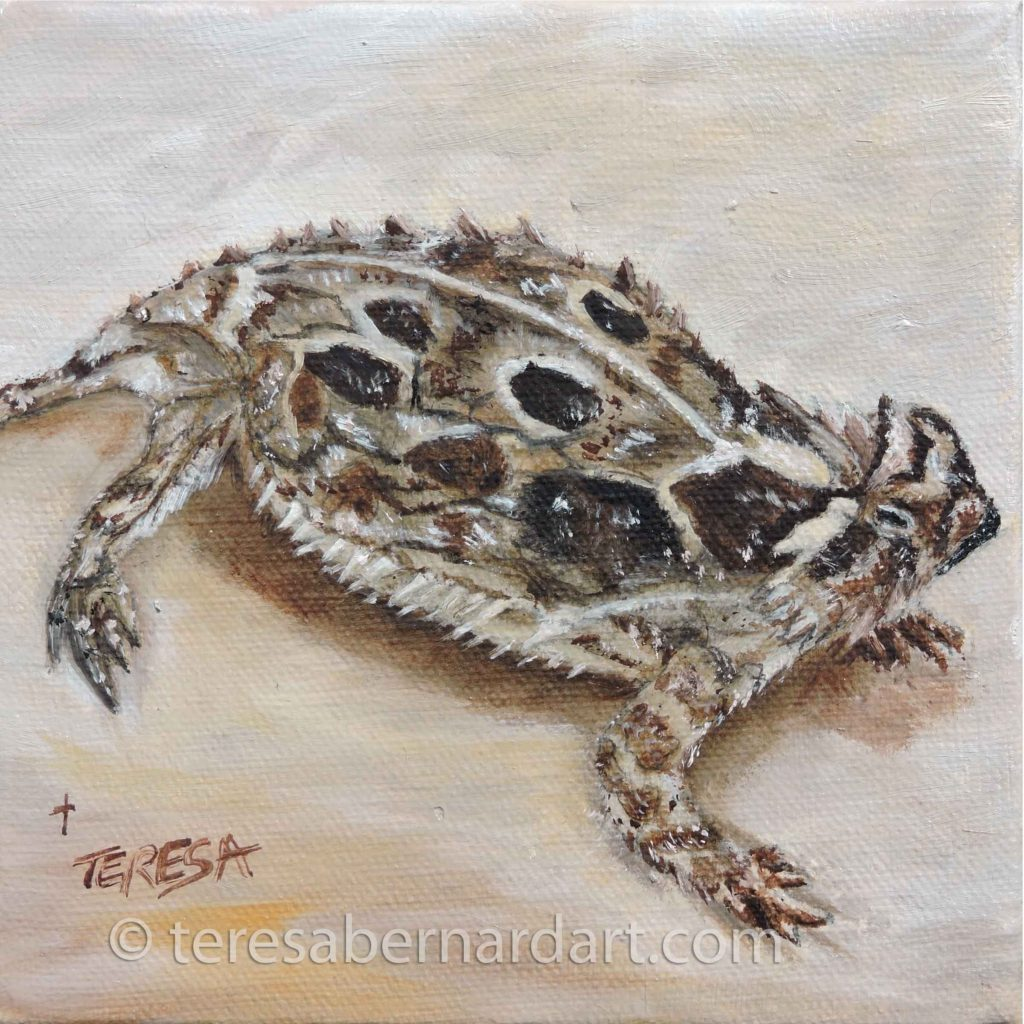 TX Horned Toad Lizard Painting