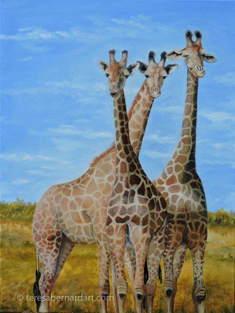 Africa wildlife giraffes commission painting
