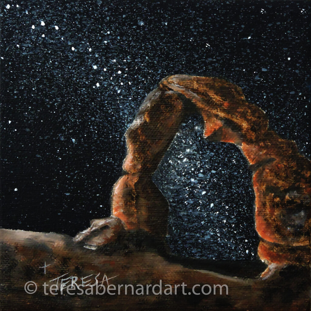 Night Sky Over Delicate Arch painting by Teresa Bernard