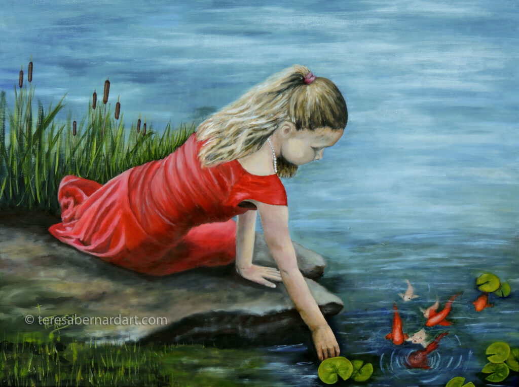 Girl In Red Dress Painting
