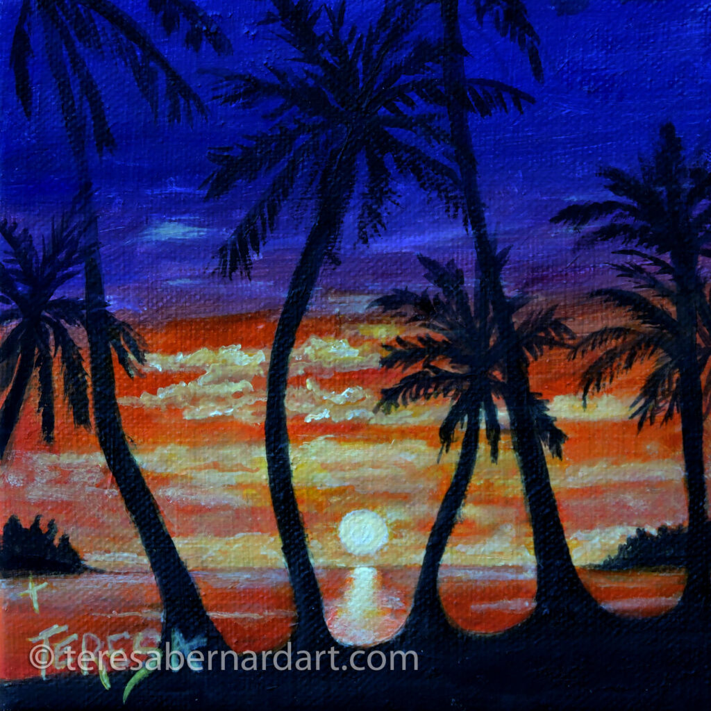 tropical sunset painting