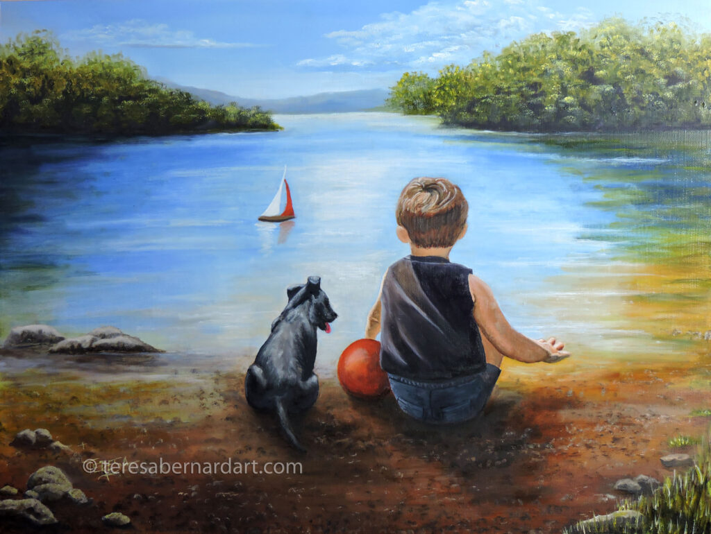 A Boy and His Dog painting