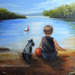 A Boy and His Dog painting by Teresa Bernard
