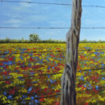 Fence Post in the Meadow by Teresa Bernard