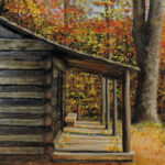 Log Cabin Painting by Teresa Bernard