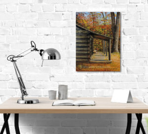painting of a log cabin in the woods