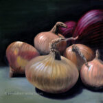 Red and Yellow Onions still life art