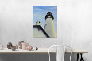oil painting featuring the Yaquina Head Lighthouse