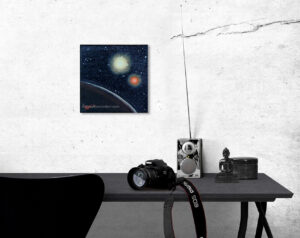 painting featuring a faraway galaxy