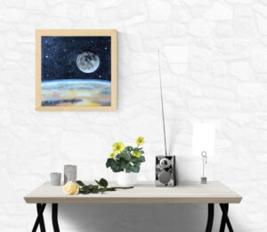 painting with a view of moon and earth