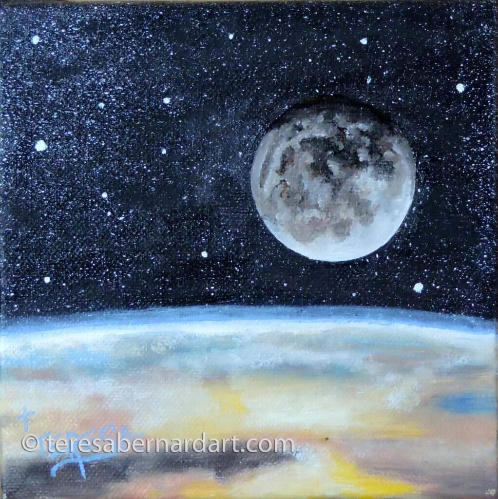 view of the moon and earth painting